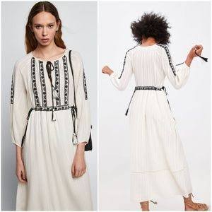 Zara long embroidered dress puff sleeves
